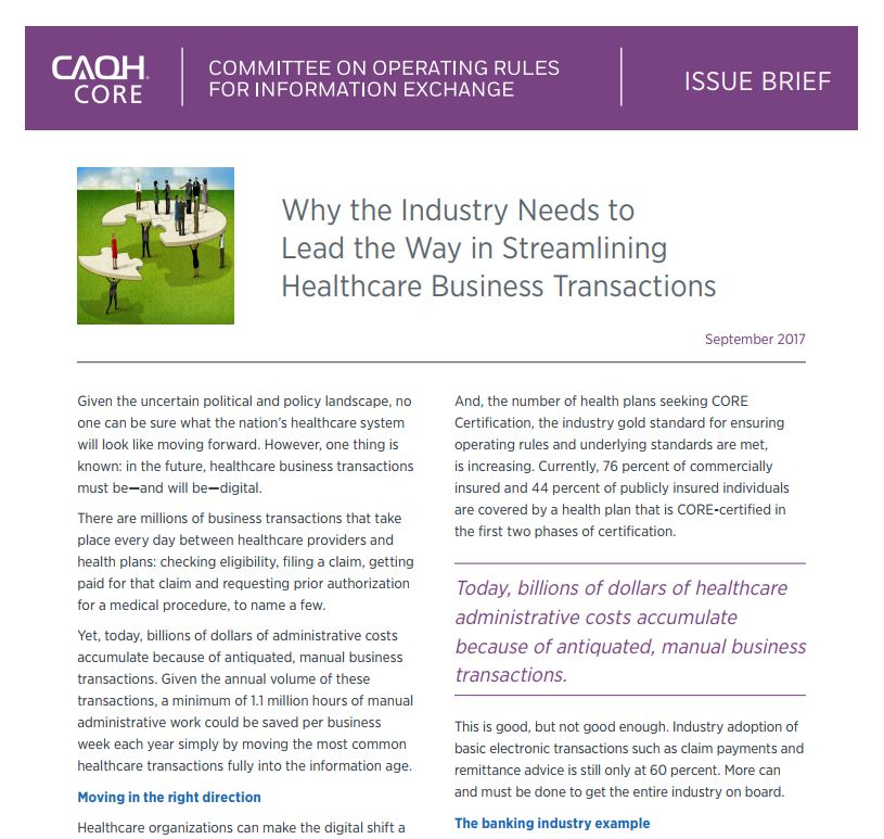 CAQH CORE Issue Brief