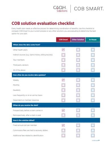 COB Solution Evaluation Checklist